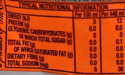 Fanta Orange Zero Sugar - Valori nutrizionali - fr