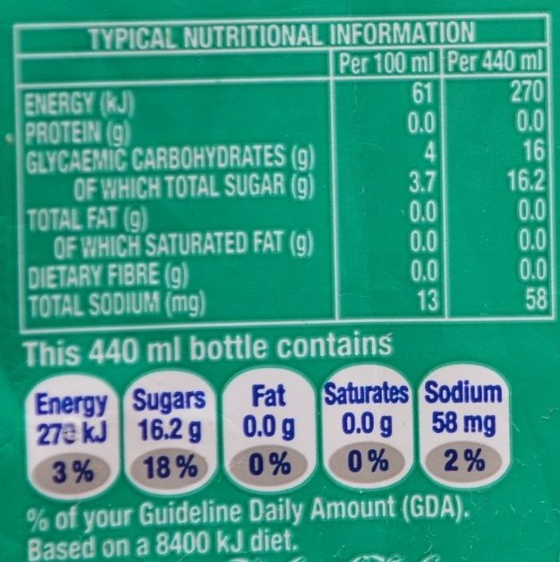 Creme soda - Nutrition facts