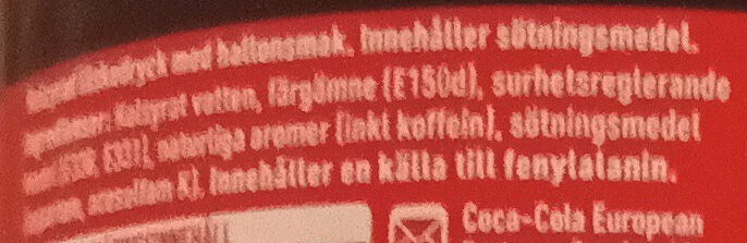 Coca-Cola Zero Sugar Raspberry - Ingredienti - sv