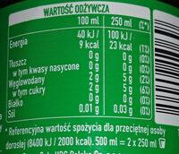 Napój gazowany o smaku cytrynowo-limonkowym - Voedingswaarden