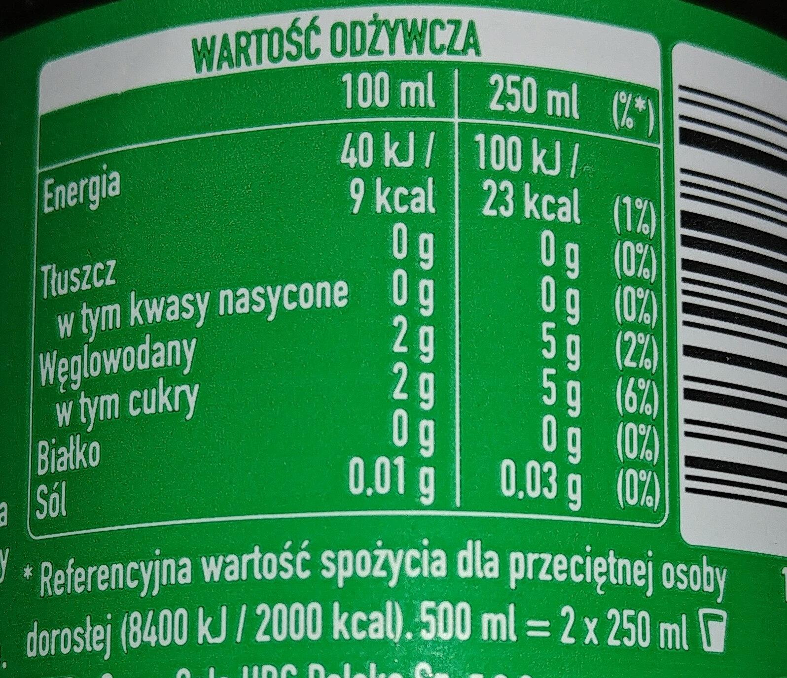 Napój gazowany o smaku cytrynowo-limonkowym - Nutrition facts