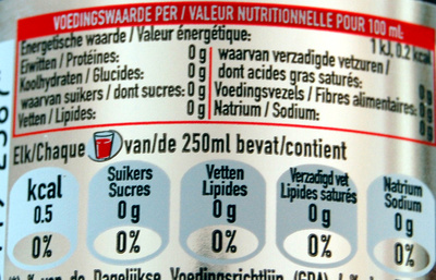 Coca cola light - Nutrition facts