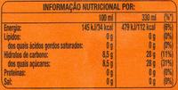 Fanta Laranja - Informação nutricional - pt
