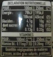 Powerade goût citron - Información nutricional
