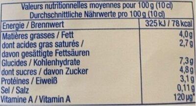 Crème légère - Voedingswaarden - fr