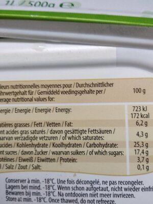 Glace a ka vanille bio - Valori nutrizionali - fr
