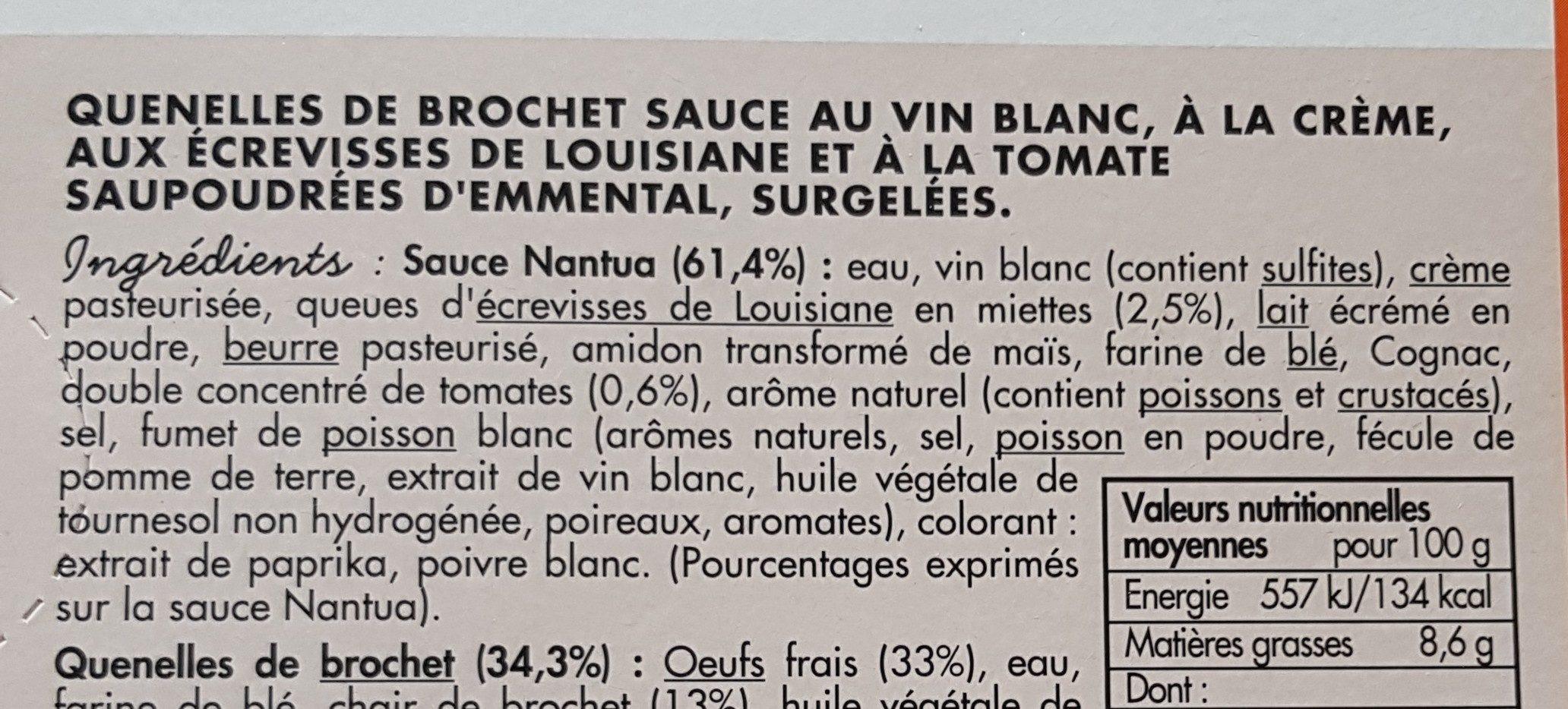 Quenelles de brochet sauce nantua - Ingredients