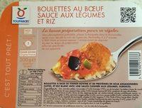 Boulettes au Bœuf, Sauce aux Légumes et Riz - Produit - fr