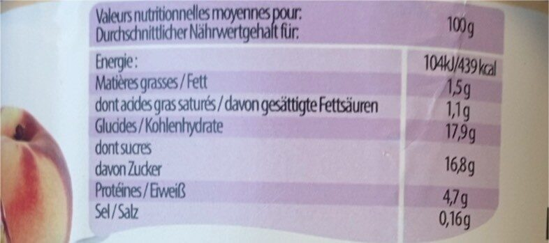 Yaourt - Valori nutrizionali - fr