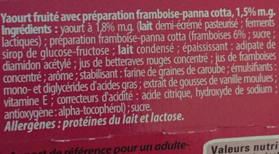 Luxlait Joghourt Pro Digé, Panna Cotta Himbeere / Pa... - Ingredients