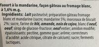 Yaourt du Luxembourg Fromage blanc avec mandarine - Ingredienti - fr