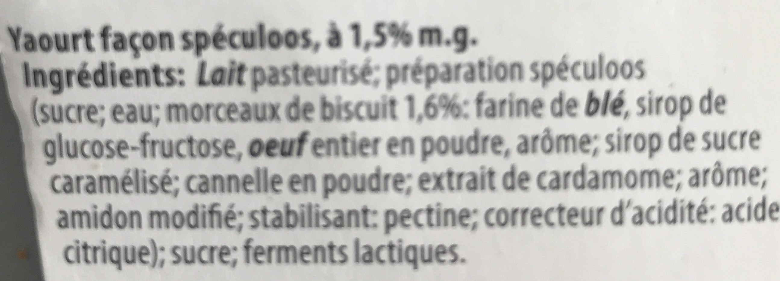 Yaourt du Luxembourg - Spéculoos - Ingredients