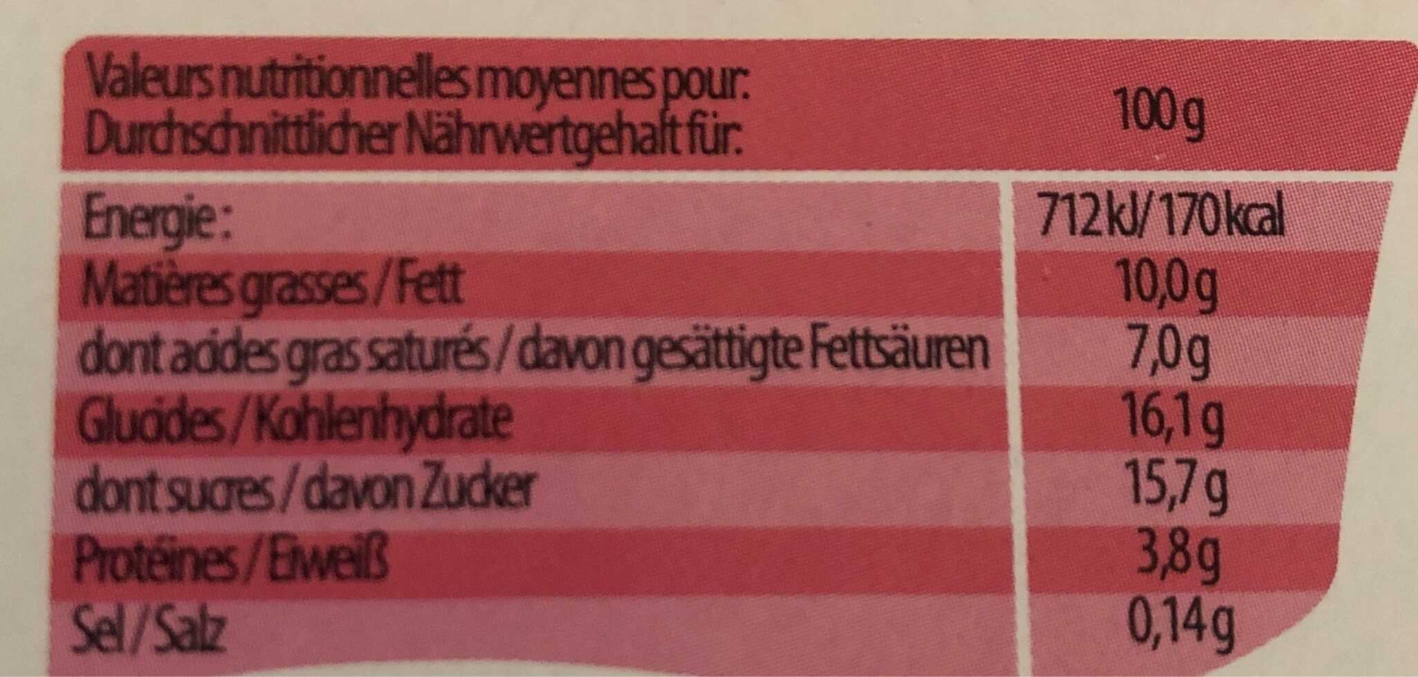 Satiné Fraise - Valori nutrizionali - fr