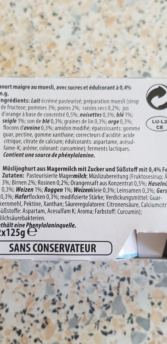 Yaourt du Luxembourg  muesli - Ingredienti - fr