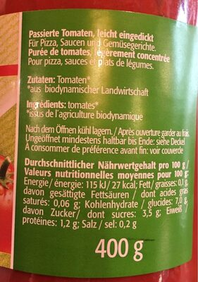 Bio puree de tomate - Ingrédients
