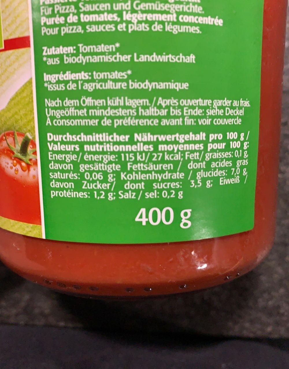 Bio puree de tomate - Informations nutritionnelles