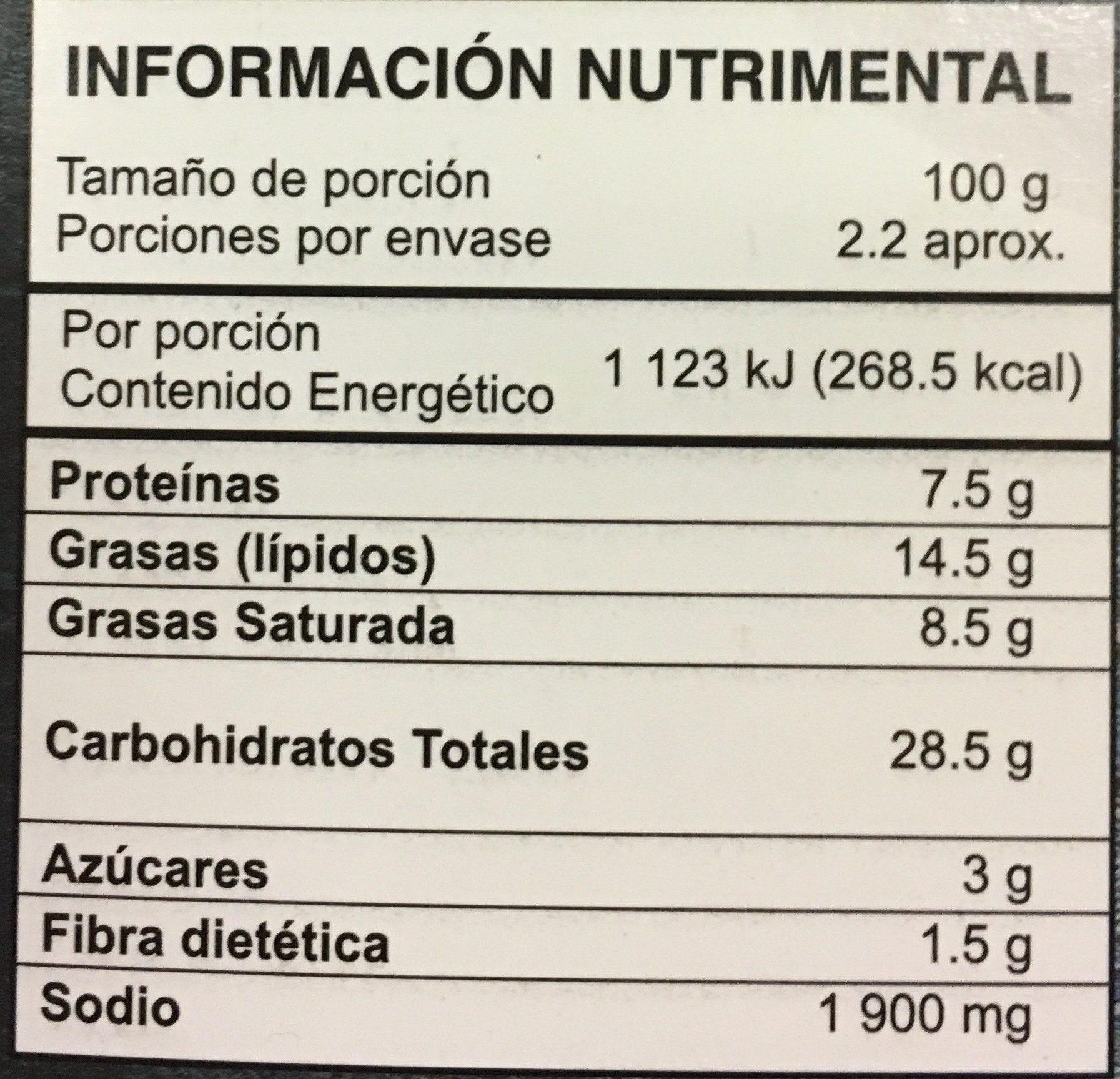 Botana de Queso Gouda - Información nutricional - es