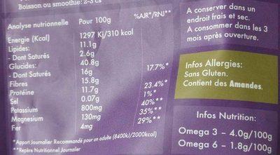 L'Éveil du Boudha Acai, Banane & Fraise - Informations nutritionnelles - fr
