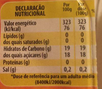 Dessert Gélifié Goût Orange - Informations nutritionnelles