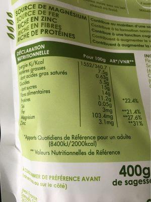 Avoine Germée, Chanvre & Raisins Secs - Informations nutritionnelles