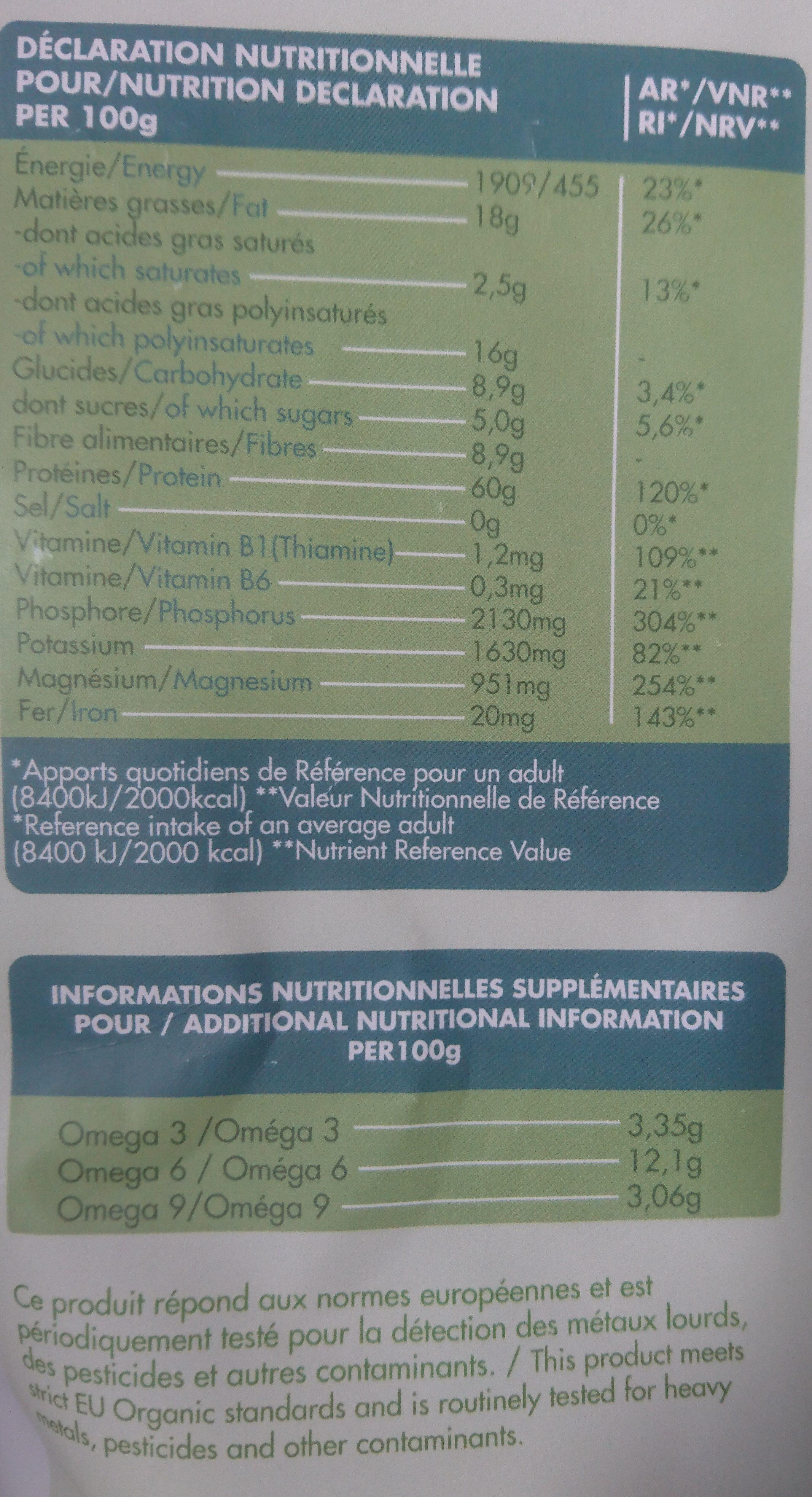 Protéine de chanvre blanc - Valori nutrizionali - fr