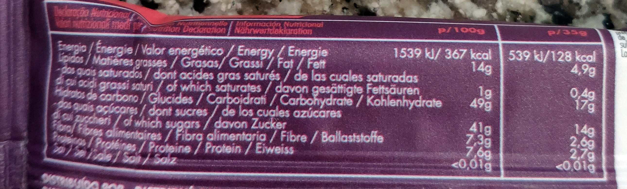 Buddha Energy - Acai, Banana & Strawberry - Informations nutritionnelles - fr