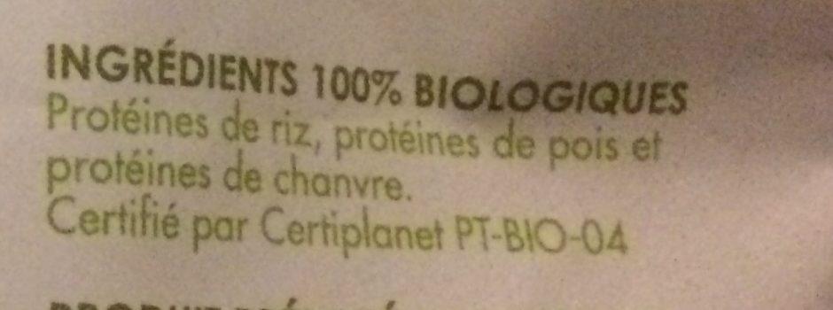Protéines Super Vegan Riz, Pois, Chanvre Bio - Ingrediënten