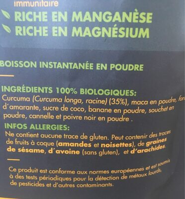 Macaccino gold - Ingredients