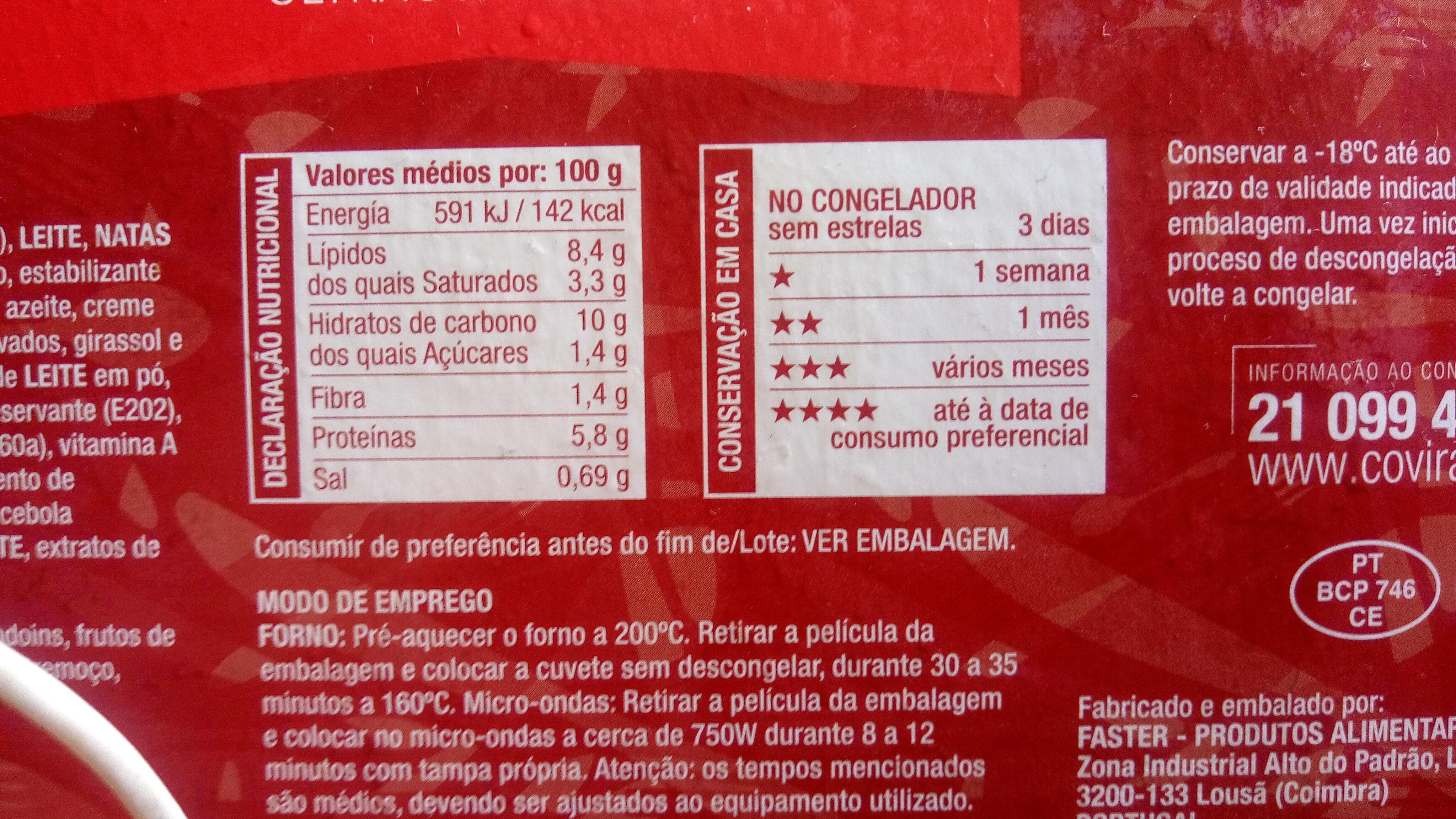 Bacalhau com Natas - ultracongelado - Voedingswaarden