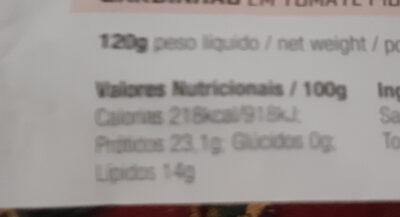 sardines - Informação nutricional - pt