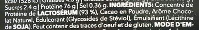 100% Real Whey Protein Stevia Dark Chocolate - Ingrediënten