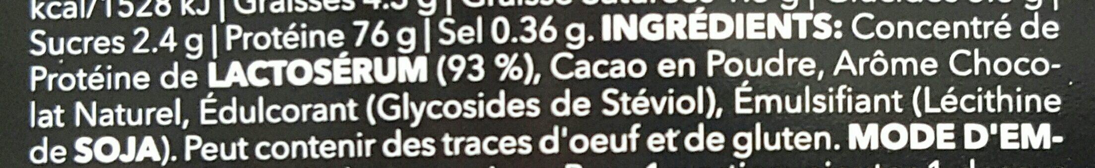 100% Real Whey Protein Stevia Dark Chocolate - Ingrediënten - fr
