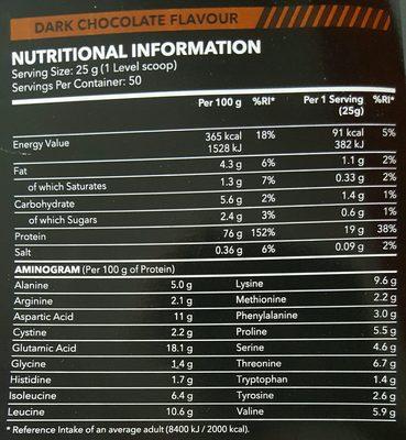 100% Real Whey Protein Stevia Dark Chocolate - Voedingswaarden - fr
