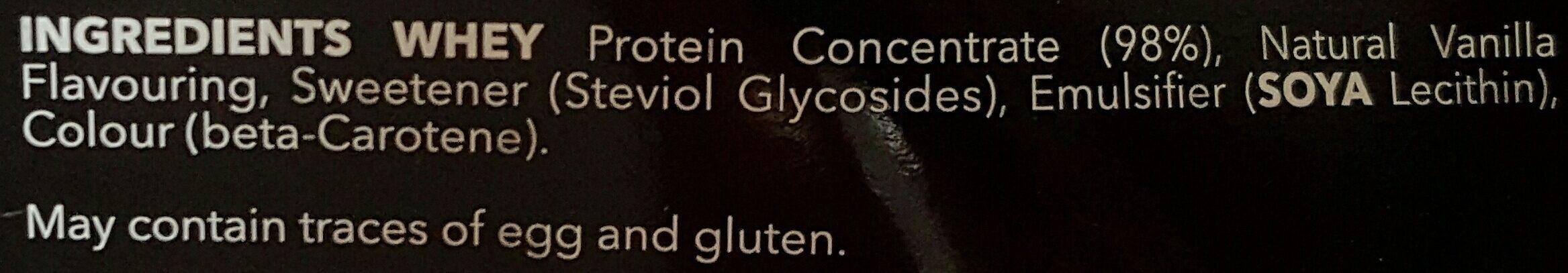 100% Real Whey Protein Stevia Vanilla - Ingrediënten - en