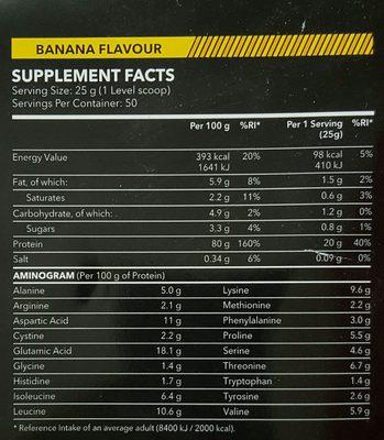 100% Real Whey Protein Stevia Banana - Voedingswaarden - en