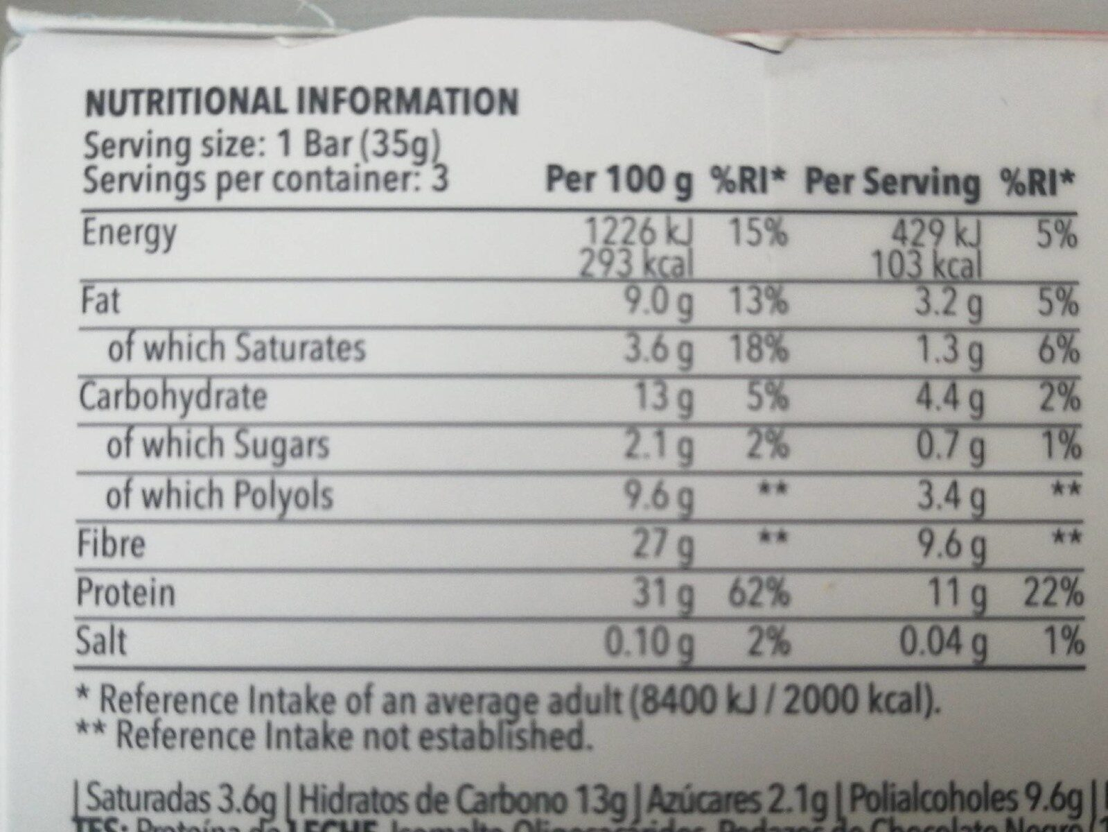 Diet bar peite de chocolate chip - Información nutricional - fr