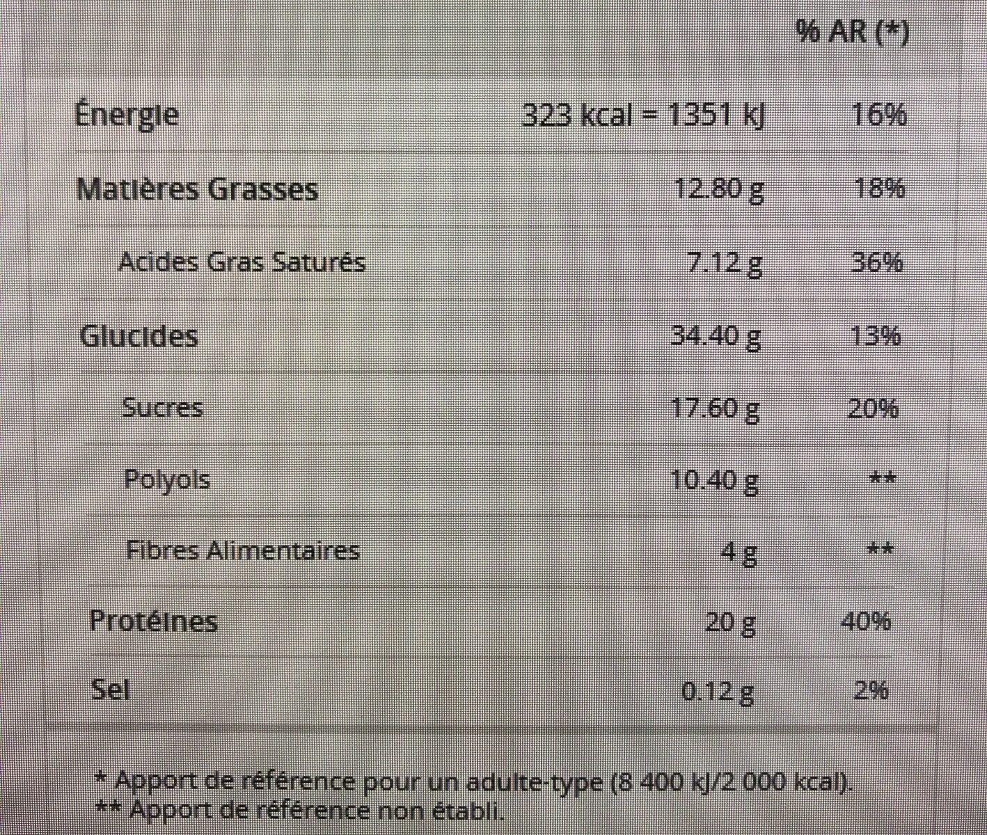 Protein Gourmet Bar - Información nutricional