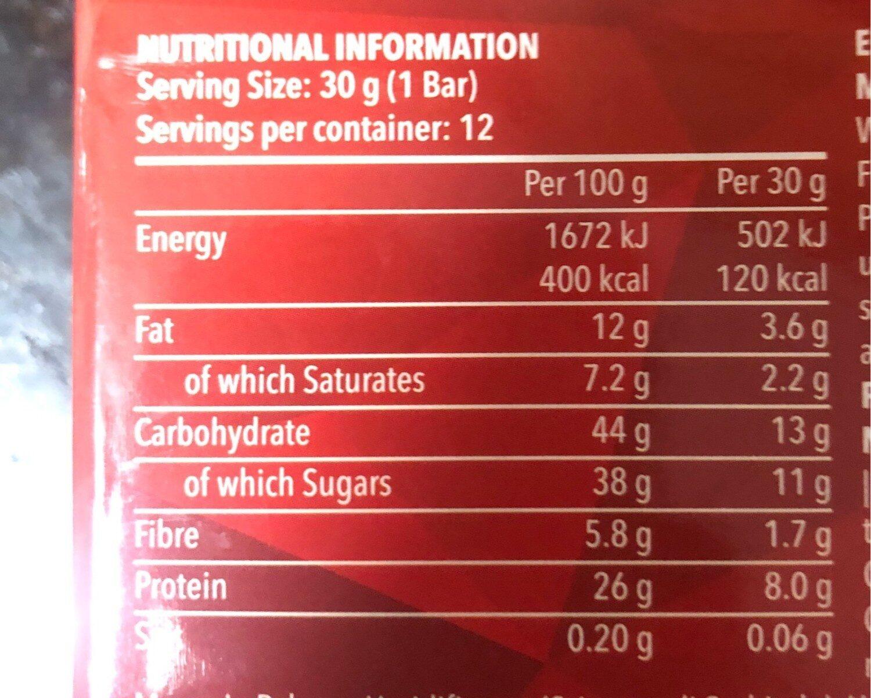 Protein snack - Informació nutricional - fr