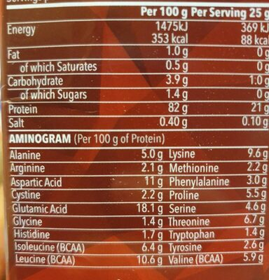 Whey Isolate Zero - Informations nutritionnelles - fr