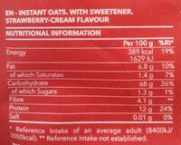Avena instantánea en polvo - Información nutricional