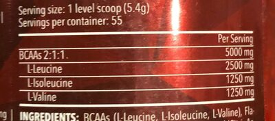 BCAA 2:1:1 - Nutrition facts