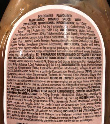 Sauce Bolognese Zero - Ingredients
