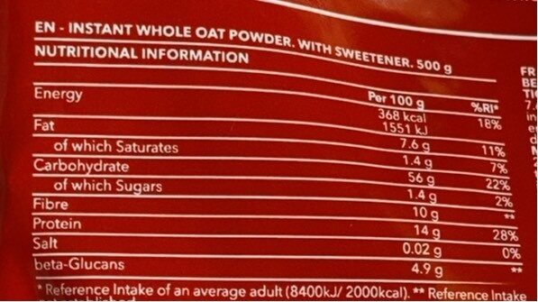 Oatmeal peanut butter - Informations nutritionnelles - fr