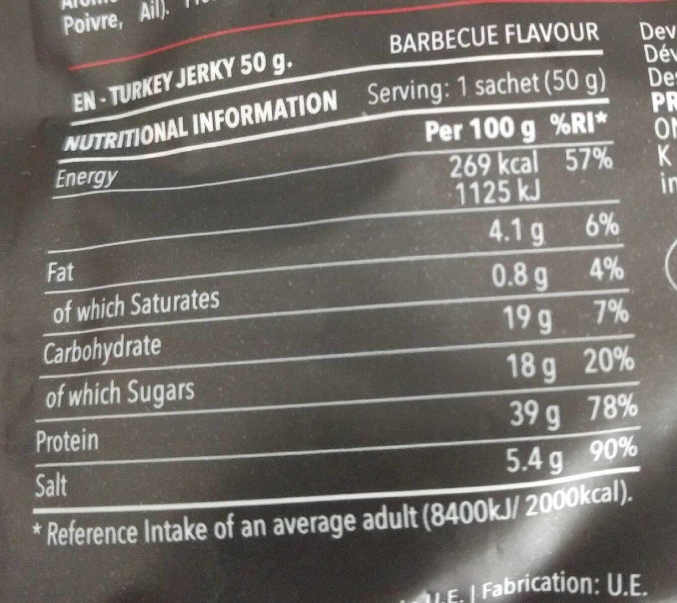 Tukey jerky barbecue flavour - Información nutricional