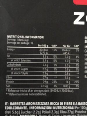 Prozis Zero Snack - Información nutricional - en