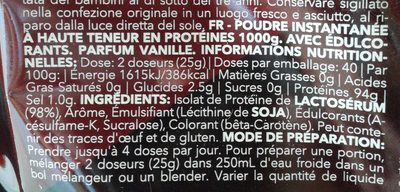 Real Whey Isolate Vainilla - Ingredients