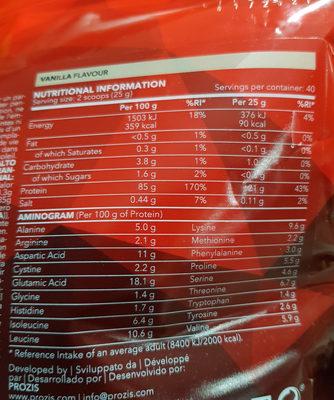Real Whey Isolate Vainilla - Informació nutricional