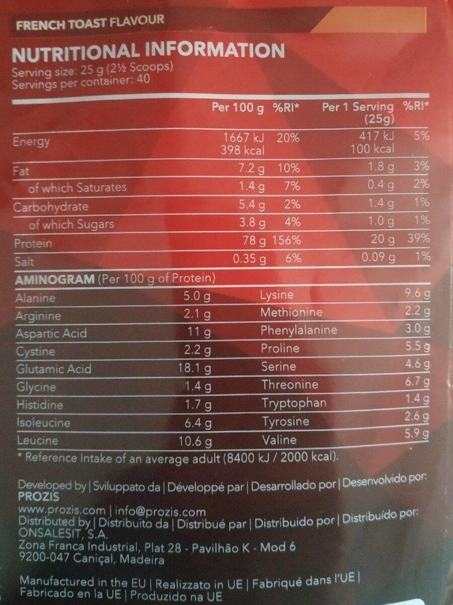 Prozis Real Whey protein - Información nutricional - es