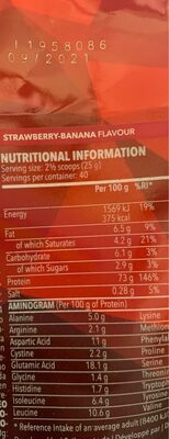 Real Whey 100% Protein - Nutrition facts