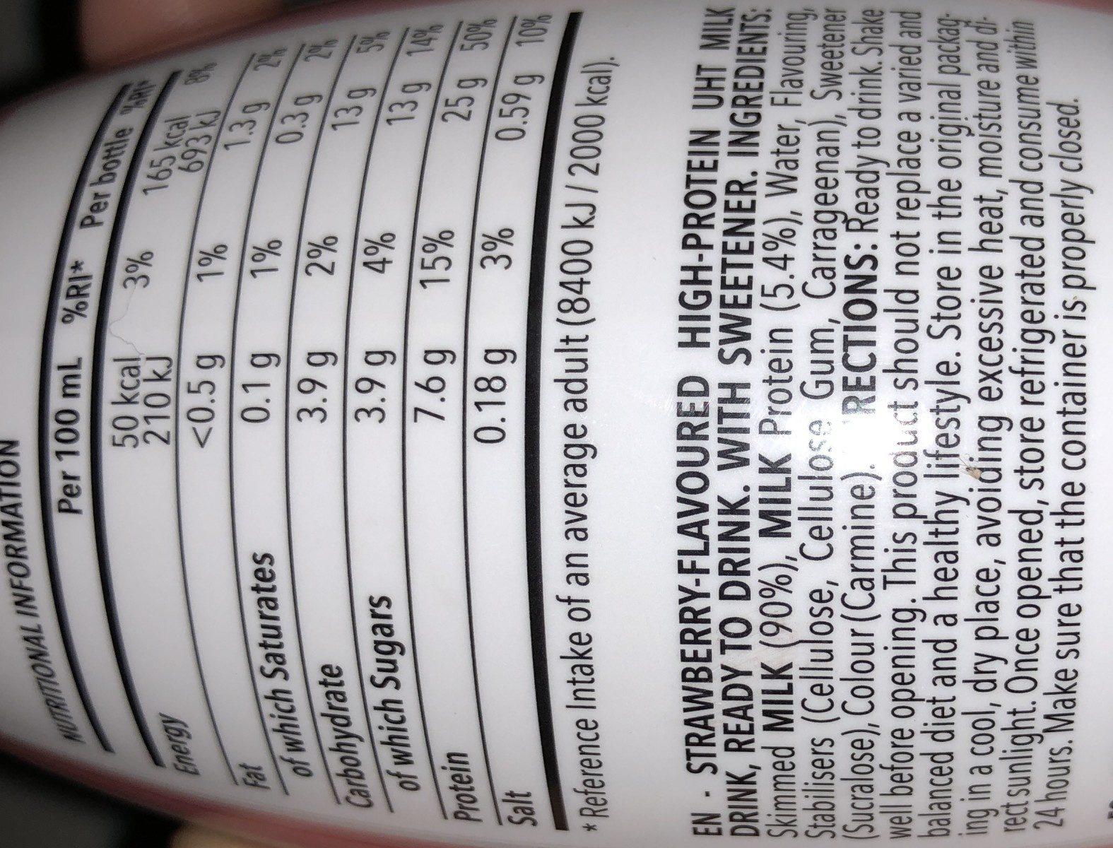 Protein milk - Ingredientes - fr
